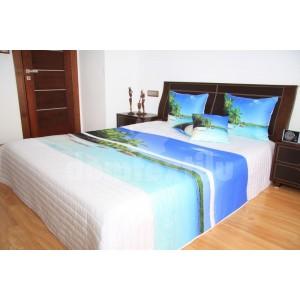 Prehoz na posteľ bielej farby s motívom exotickej pláže