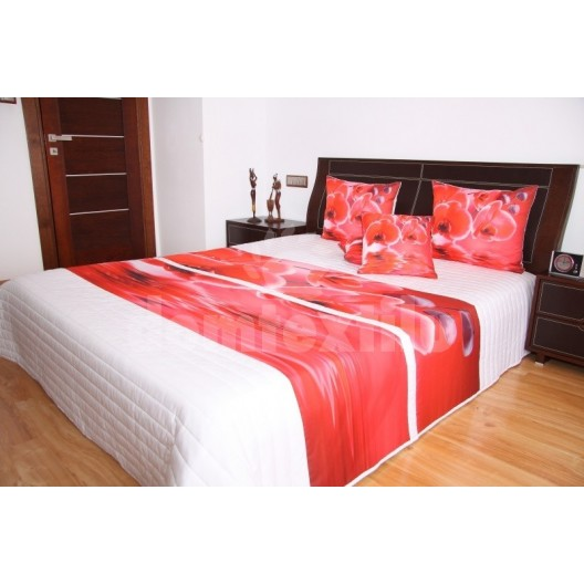 Prehoz na posteľ bielej farby s motívom červených orchideí