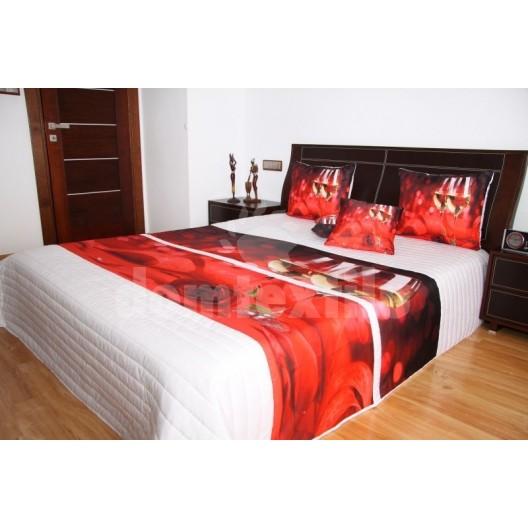 Prehoz na posteľ bielej farby s motívom červenej ruže a bieleho vína