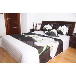 Prehoz na posteľ bielej farby s motívom bielej orchidey