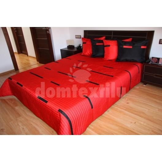 Prehoz na posteľ sýto červenej farby s čiernymi pruhmi