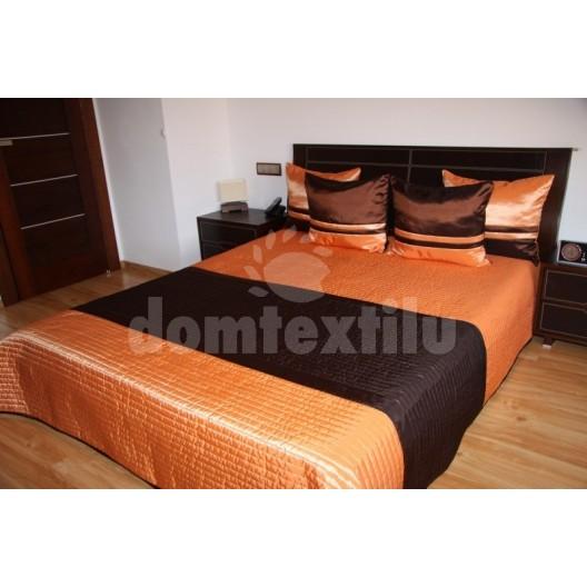 Prehoz na posteľ oranžovo hnedej farby s prešívaným motívom