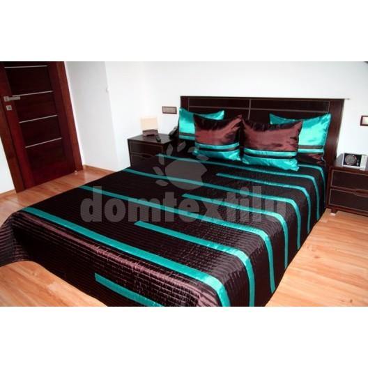 Prehoz na poste s pruhovaným vzorom čokoládovo tyrkysovej farby
