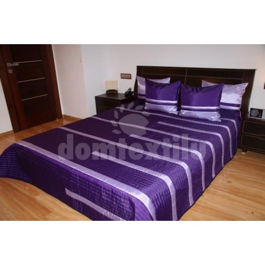 Prehoz na posteľ sýto fialovej farby s pruhmi