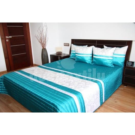 Prehoz na posteľ tyrkysovej farby s prešívaným vzorom