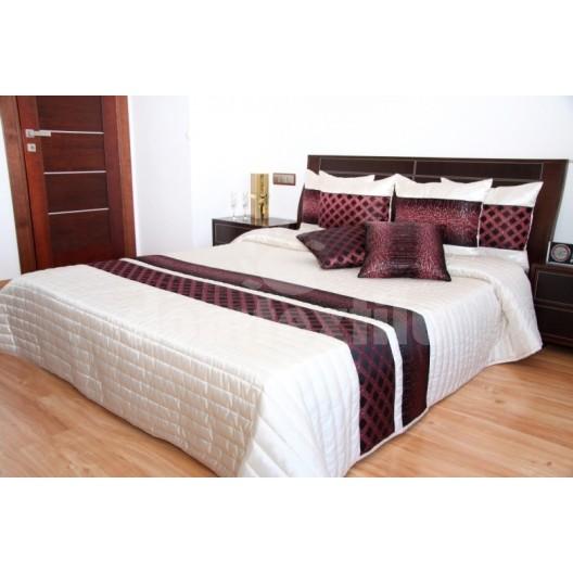 Prehoz na posteľ béžovo hnedej farby s prešívaným vzorom