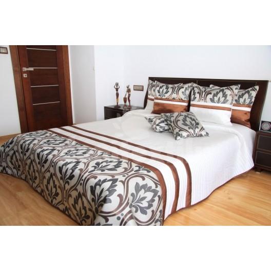 Prehoz na posteľ bielej farby s prešívaným motívom