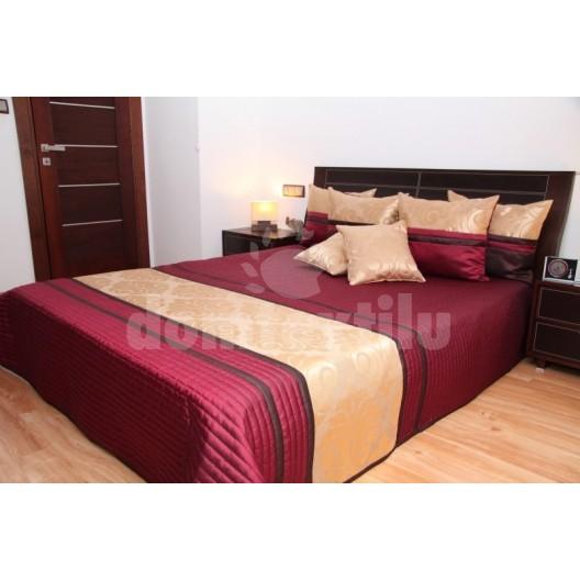 Prehoz na posteľ bordovej farby s prešívaným vzorom