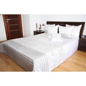 Prehoz na posteľ v elegantnej bielej farbe s prešívaným vzorom