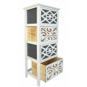 Elegantná drevená komoda zo 4 zásuvkami