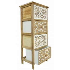 Vintage priestranná drevená komoda s 3 zásuvkami