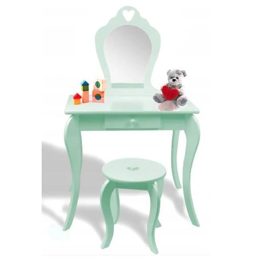 Ružový detský toaletný stolík s taburetkou