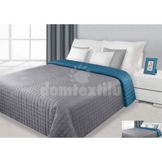 Prehoz na posteľ šedo-tyrkysovej farby s prešívaným vzorom