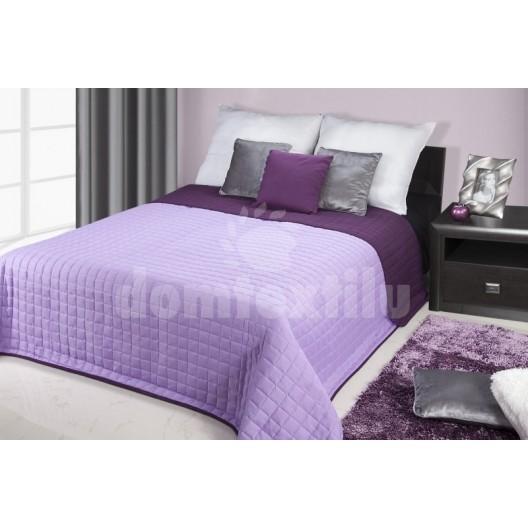 Prehoz na posteľ svetlofialovej farby s prešívaným motívom