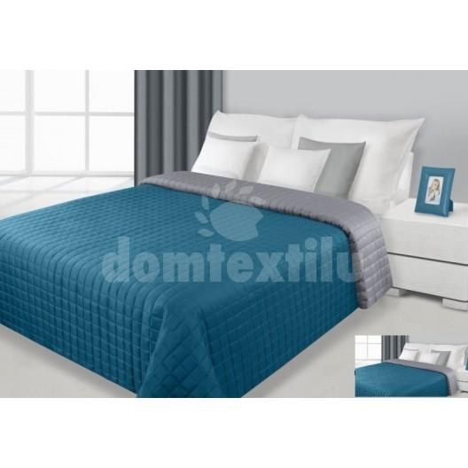 Prehoz na posteľ tyrkysovo-šedej farby s prešívaným vzorom