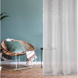 Originálna záclona s aplikáciou a zavesením na kruhy 140 x 250 cm