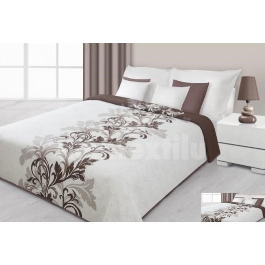 Prehoz na posteľ krémovej farby s hnedými kvetmi