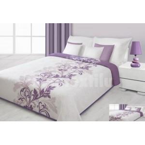 Prehoz na posteľ krémovej farby s fialovými kvetmi