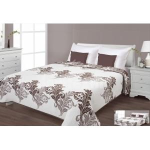 Prehoz na posteľ krémovej farby s hnedými listami