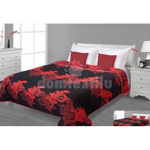 Prehoz na posteľ čiernej farby s červenými listami