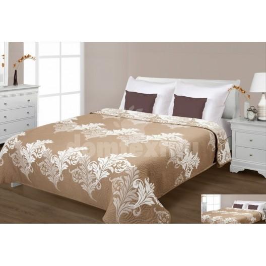 Prehoz na posteľ béžovej farby s krémovými listami
