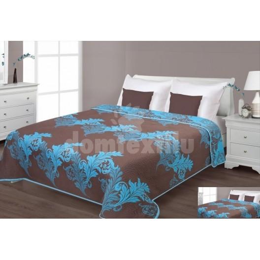 Prehoz na posteľ hnedej farby s tyrkysovými listami