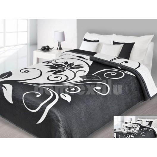 Prehoz na posteľ čiernej farby s bielymi vzormi