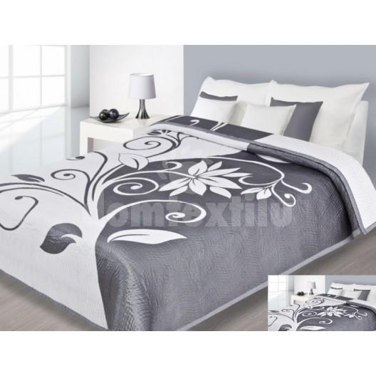 Prehoz na posteľ bielej farby so sivými vzormi