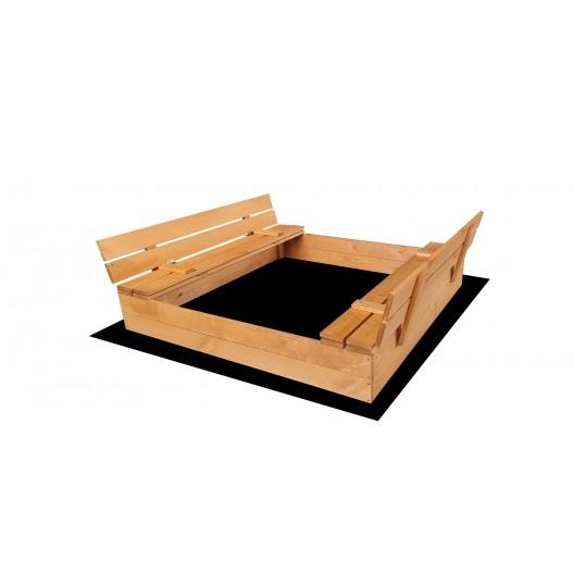 Zatvárateľné pieskovisko s lavičkami a strieškou žltej farby 120 x 120 cm