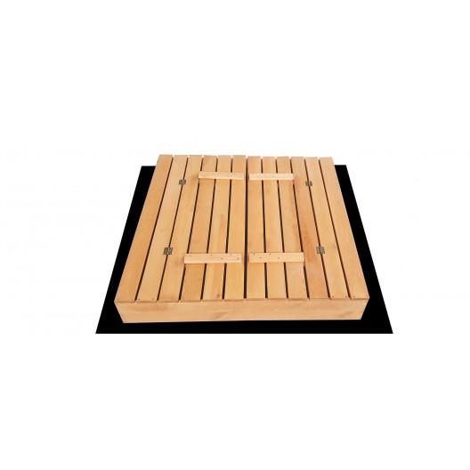 Zatvárateľné pieskovisko s lavičkami a strieškou sivej farby 120 x 120 cm