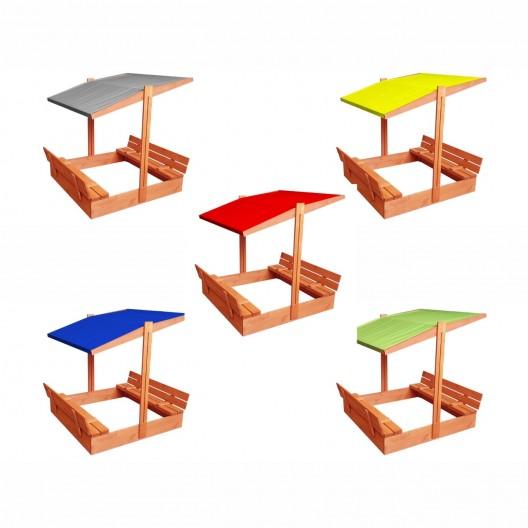 Zatvárateľné pieskovisko s lavičkami a strieškou modrej farby 120 x 120 cm