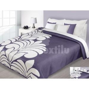 Prehoz na posteľ fialovej farby s krémovým vzorom