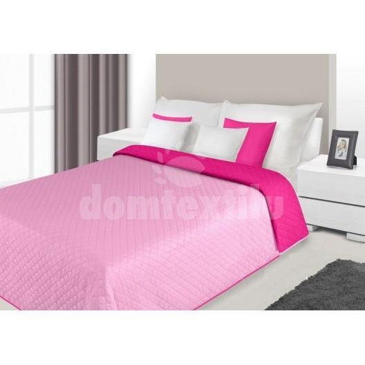 Prehoz na posteľ ružovej farby s prešívaným vzorom