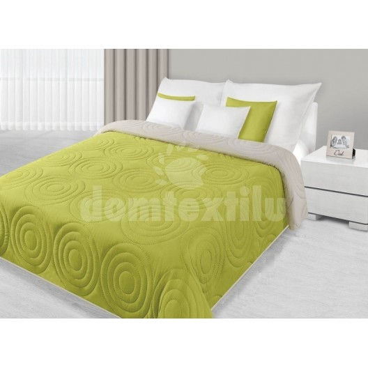 Prehoz na posteľ zelenej farby s kruhovým prešívaním