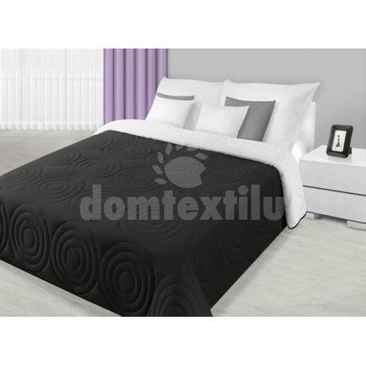 Prehoz na posteľ čiernej farby s kruhovým prešívaním