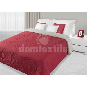 Prehoz na posteľ červenej farby s kruhovým prešívaním