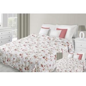 Prehoz na posteľ bielej farby s motívom červených kvetov