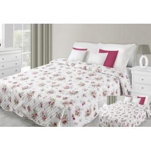 Prehoz na posteľ bielej farby s motívom bordových kvetov
