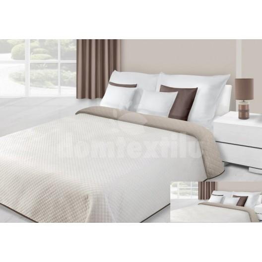 Prehoz na posteľ krémovej farby s kvetovaným prešívaním