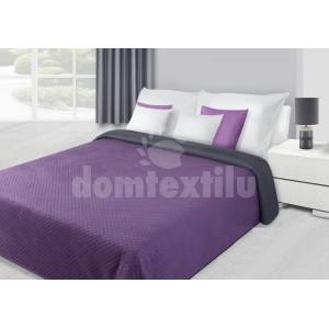 Prehoz na posteľ fialovej farby s kvetovaným prešívaním