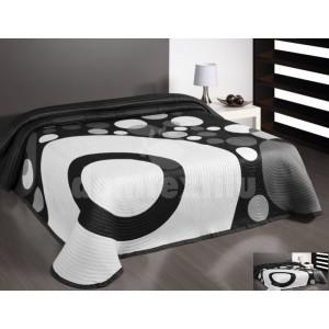 Prehoz na posteľ bielo-čierno-sivej farby s motívom kruhov