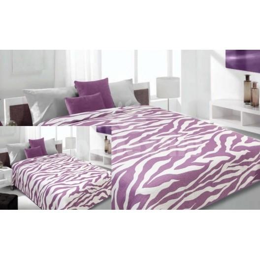 Prehoz na posteľ fialovo-krémovej farby s pruhovaným motívom
