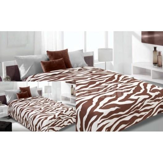 Prehoz na posteľ krémovo-hnedej farby s pruhovaným motívom