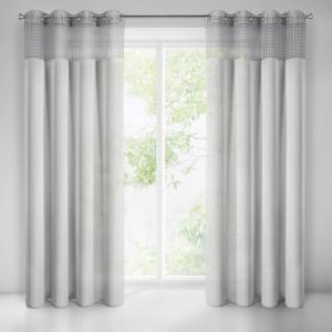 Sivá záclona s ľanovým efektom a čipkou 135 x 250 cm