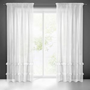 Krásna biela záclona na riasiacu pásku s volánmi 140 x 270 cm
