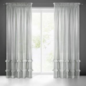 Záclona sivá do spálne na riasiacu pásku 140 x 270 cm