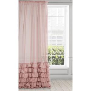 Romatická ružová záclona s bohato riasenými volánmi 140 x 250 cm