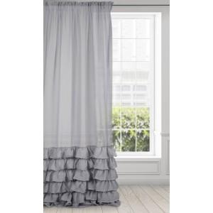 Krásna sivá záclona s bohato riasenými volánmi 140 x 250 cm