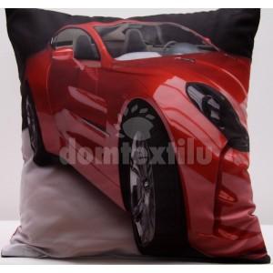 Sivá obliečka na vankúš s potlačou červeného auta