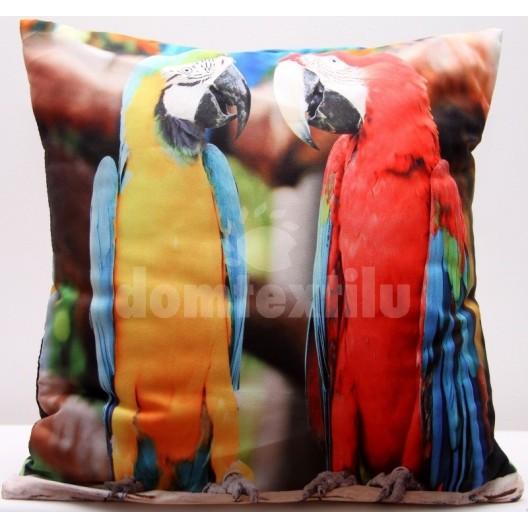 Farebné obliečky na vankúš s motívom žltého a červeného papagája